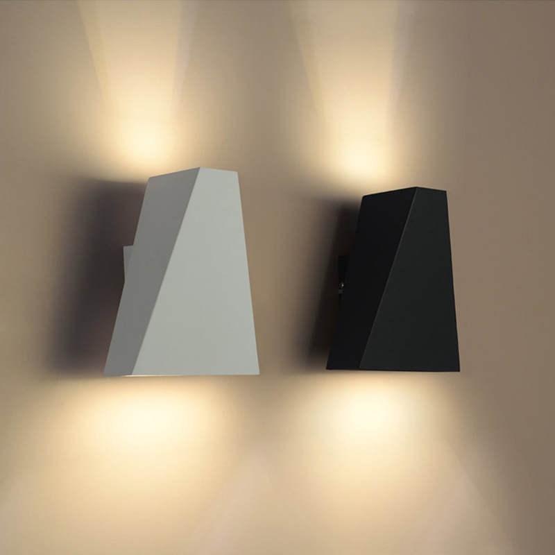 Modern Simple Trapezoid Led Wall Lamp White/Black Iron Bedroom Led Wall Light Corridor Led Wall Lights Living Room Wall Sconce modern chrome metal led wall lamp lustre crystal living room led wall lights fixtures glass bedroom led wall light wall sconce