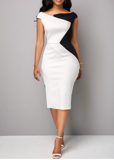 Women Sleeveless Splice Dresses Bodycon Sexy Commuter Professional Wear Dresses Female Irregular Collar Slim Fit Hip Dresses