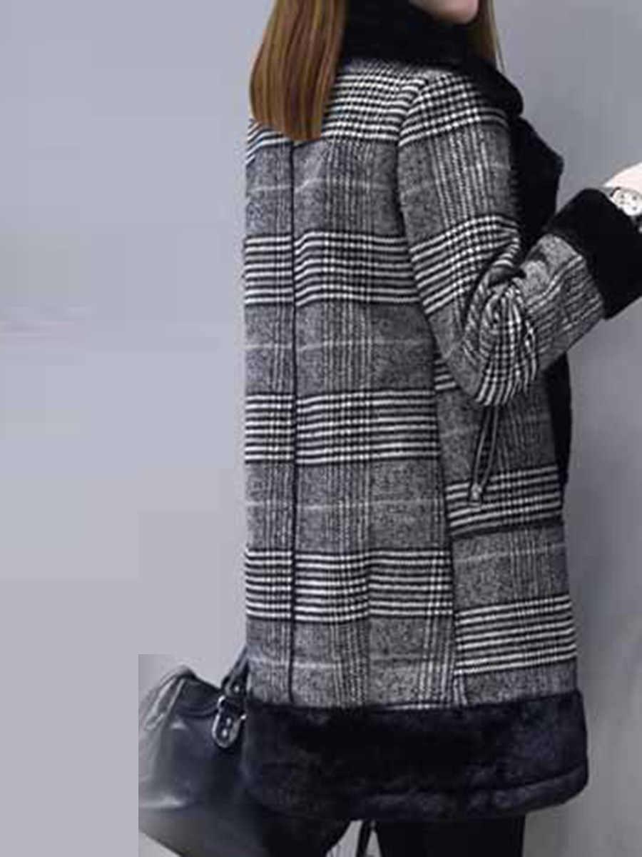 Клетчатое Женское пальто, зимняя теплая верхняя одежда из искусственного меха, повседневное пальто средней длины, черное, на одной пуговице, свободное, плюс размер, 2XL, длинное шерстяное пальто для женщин
