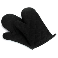FJS-1pcs Cotton Protection Gloves Kitchen Heat Resistant Oven Microwave Kitchen Gloves black