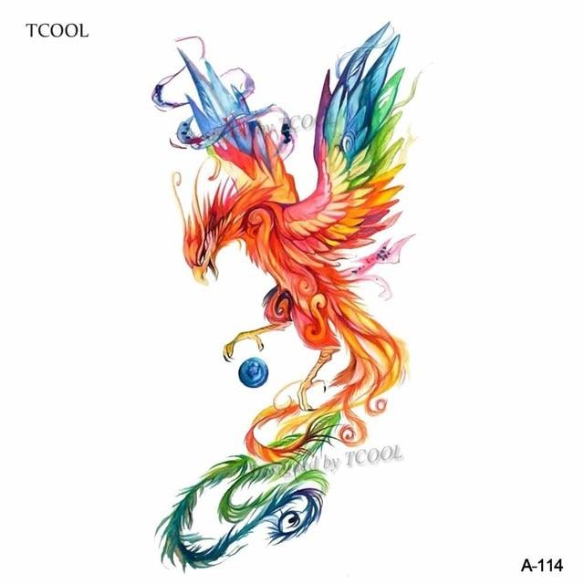 HXMAN Colorful Watercolor Phoenix Dragon Temporary Tattoos for Kids Women Hand Tatoo Sticker Body Art 9.8X6cm A-114 1