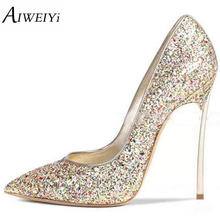 1d8043041ebc AIWEIYi Brand Shoes Woman Thin Heels Pumps 12CM Metallic Heel High Heels  Ladies Wedding Shoes Sexy