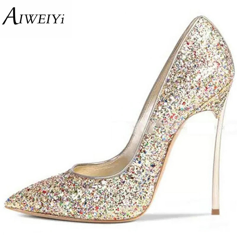 AIWEIYi Brand Shoes Woman Thin Heels Pumps 12CM Metallic Heel High Heels Ladies Wedding Shoes Sexy Women Shoes High Heels Pumps aiweiyi women s pumps shoes 100