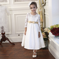 Nimble Solid Elegant Lace Long Sleeves Ankle-length Golden Bow Beading Party Wedding Girls Dress