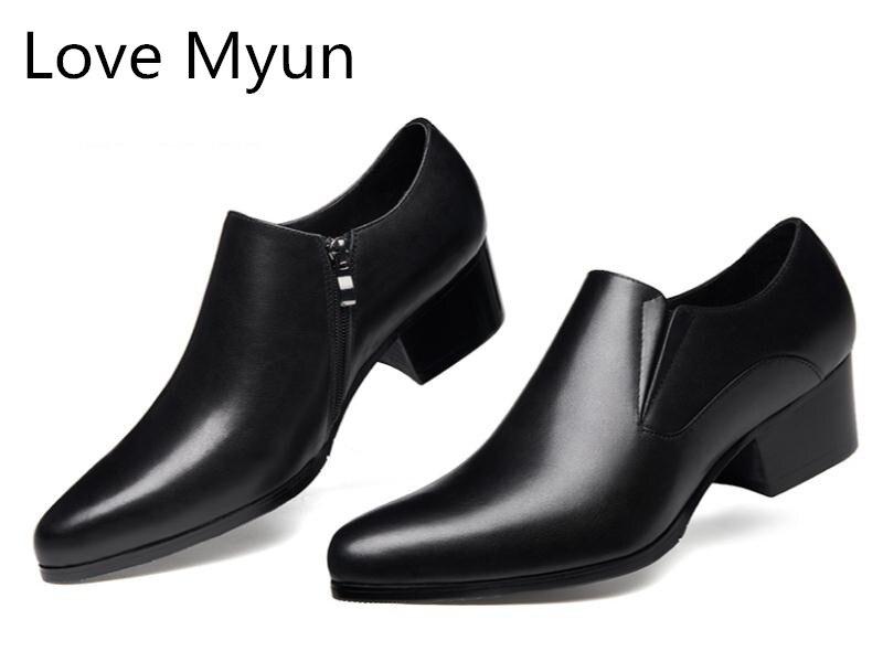 Genuine leather high heel shoes men pointed toe zip brand design wedding dress shoes men s