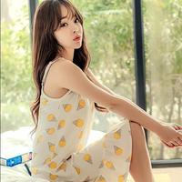 Sweet Nightgown Female Summer 100 Cotton Cartoon Young Girl Sexy Sleepwear Spaghetti Strap Ruffle Lounge