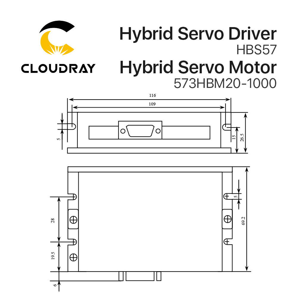 Cloudray Leadshine HBS57+573HBM20-1000 HBS507 nema23 3 Phase Hybrid Servo Closed Loop