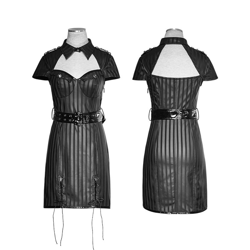 Sexy Uniforme Robe Rave Rayures Femmes Gothique Manches Soirée Des En Militaire Noir Cuir À Punk Vintage Courtes Steampunk UqIxa