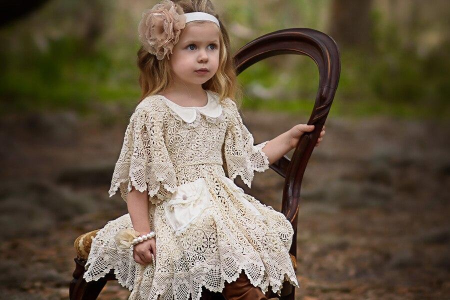 Super Amazing Little Girl Dresses White / Ivory A-Line Knee length Appliques Decorated Sailor Collar Flower Girl Dress 2017
