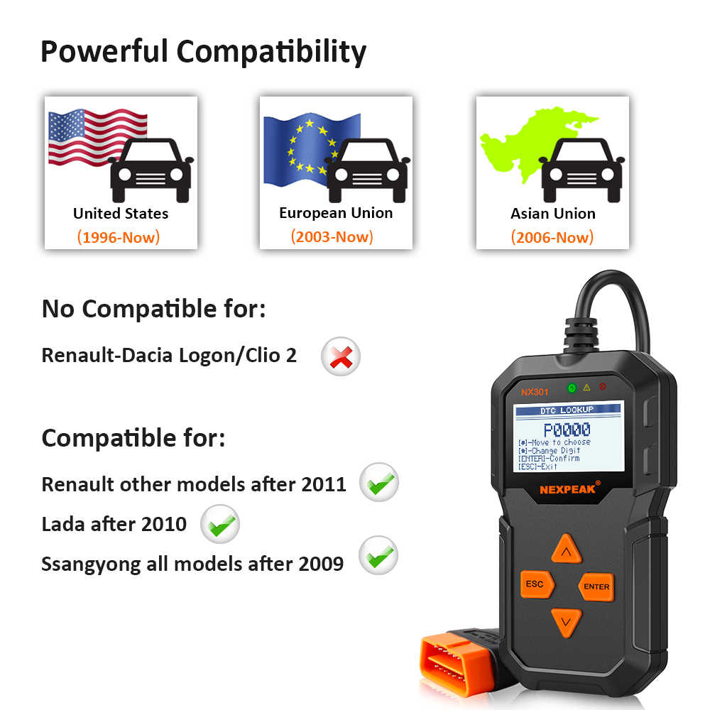 NEXPEAK NX 301 OBD2 EOBD Car Automotive Scanner Auto Engine Code Reader  Sensor Freeze Frame Data Clear MIL OBDII Diagnostic Tool