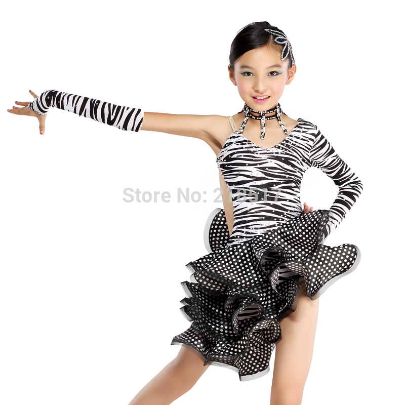 New Girls Zebra S,XXL Diamond Latin Dance Dress Ballroom Dance Dress Latin  Girls Dancewear ...
