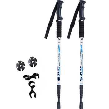 2Pcs/lot Anti Shock Nordic Walking Sticks Telescopic Trekking Hiking Poles Ultralight Walking Canes With Rubber Tips Protectors 1