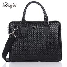 DANJUE Men Handbag Genuine Leather Knitting Men Bag Trendy Laptop Bag Totes Male Leather Men Briefcase Fashion Messenger Bag