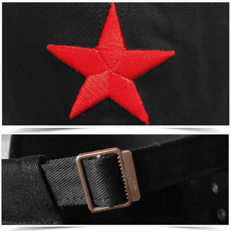 7a673962c7744 Gorra militar de moda de estrella roja bordada sombreros planos ...