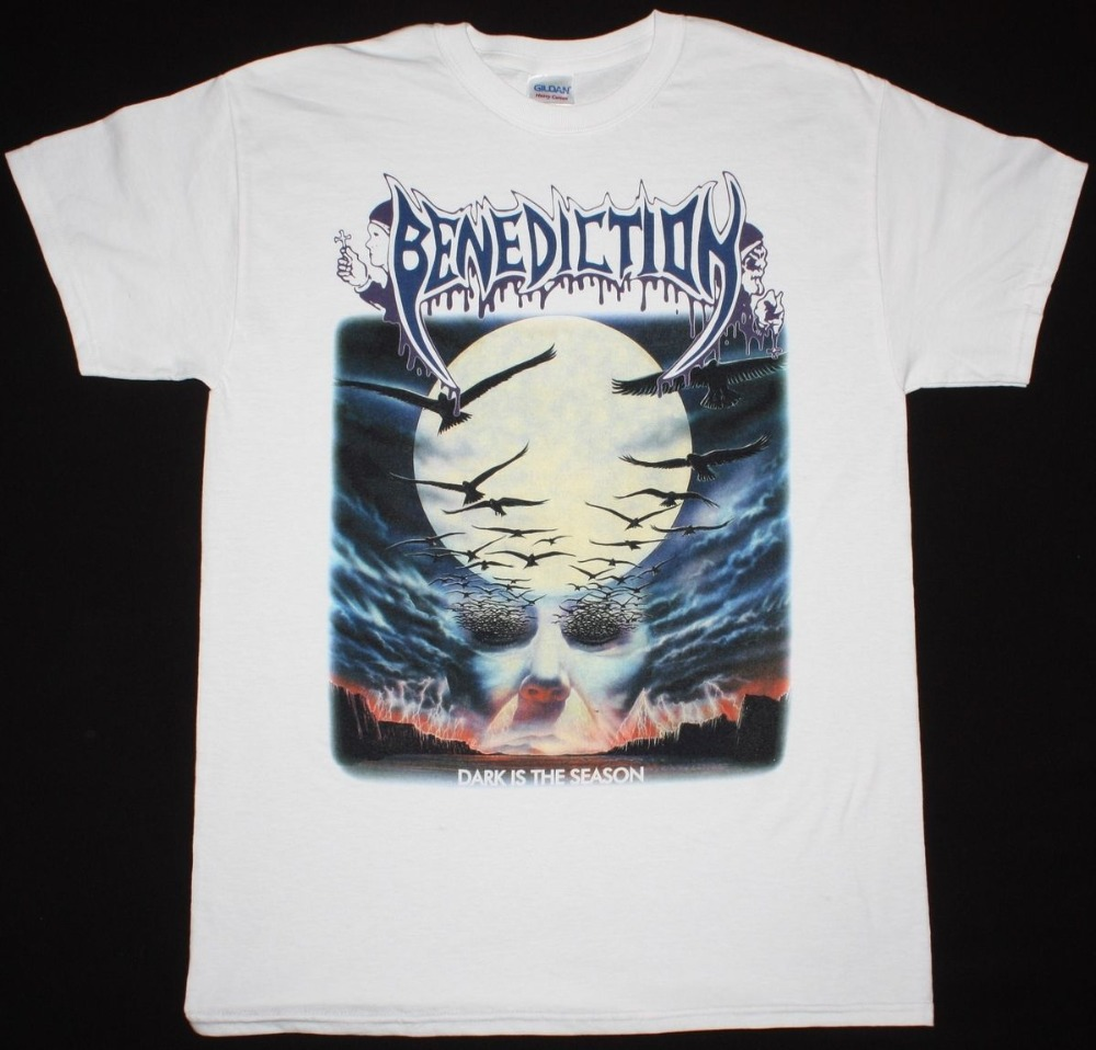 Summer Cotton Mens O-Neck Benediction Dark Is The Season Dismember Napalm Death S 3XL New White T-Shirt Short Sleeve Office Tee