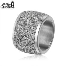 Effie Queen Silver/Rose Gold Color Stainless Steel Rings 16mm Frosting Surface Big Wedding Band Party Ring for Women IR73(China)