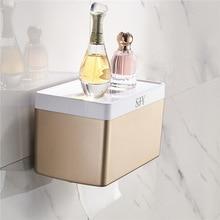 Creative bathroom waterproof toilet paper towel box bracket rack rose gold frame