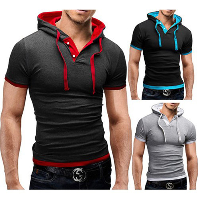2019 Men Tshirt Summer Casual Hooded Tees Hot Sale Short Sleeve T-Shirt Homme Slim Fit Elastic Brand Clothing Male T shirt