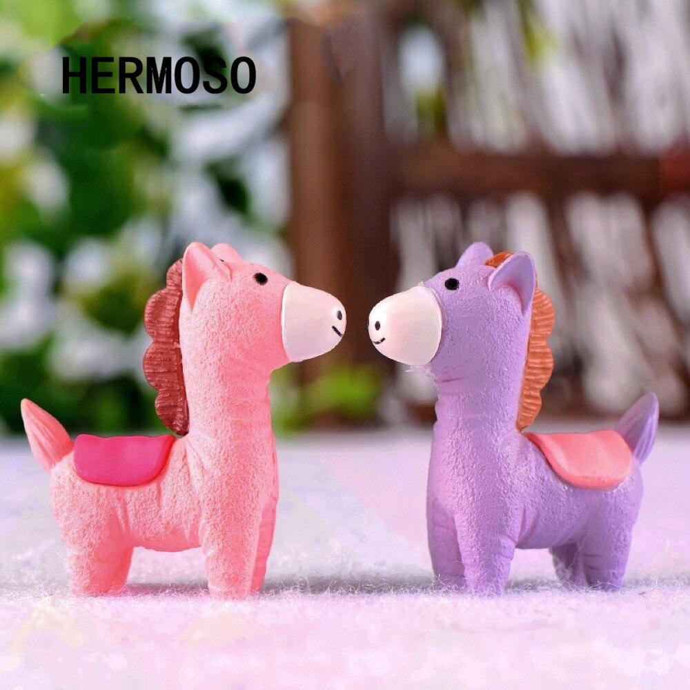 HERMOSO New Arrival 2pc Horse Animal Miniature Fairy Garden Home Houses Decoration Mini Craft Micro Landscaping Decor DIY