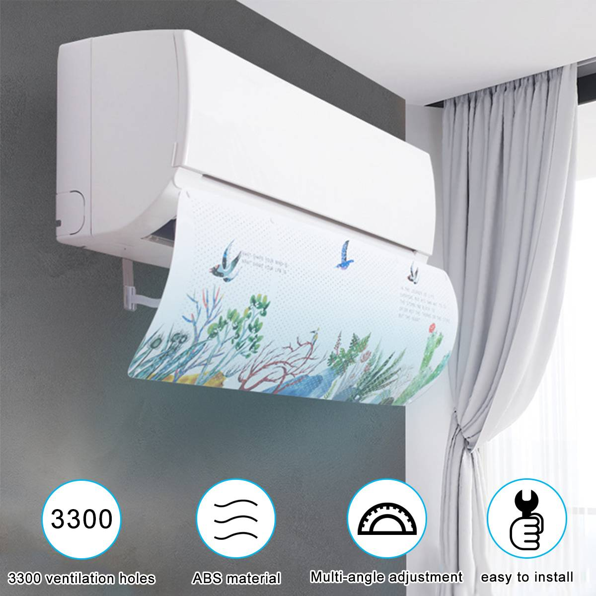 Air-Conditioner-Cover Baffle-Shield Wind-Guide Straight Adjustable Colorful Pastoral