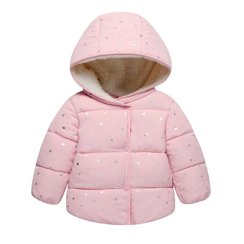 Baby Girls Coat Winter Warm Cute Children Polka Dot Hooded Jacket 2017 Fashion Spring Children Clothing