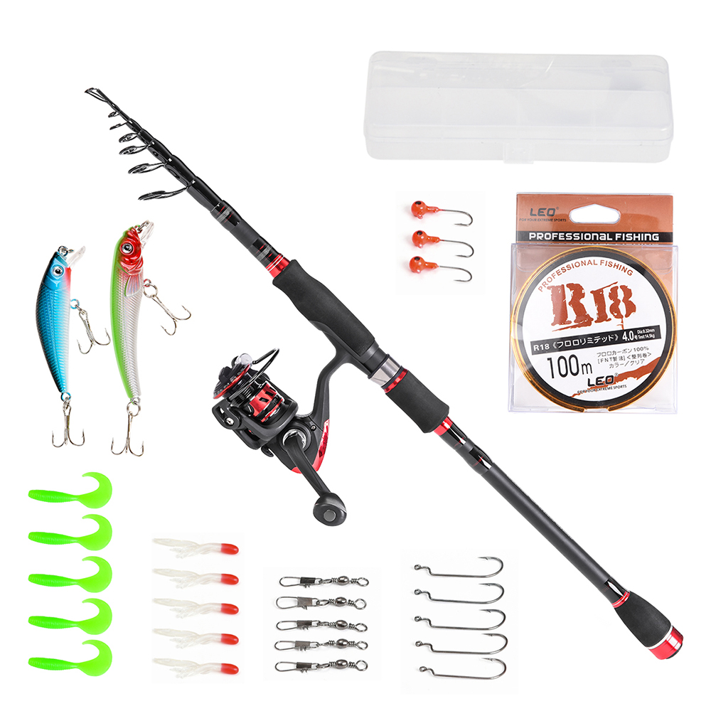 Fishing Rod Reel Line Combo Full Kits Spinning Reel Pole Set with Lures Bait Set