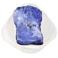 Lovegem Genuine TANZANITE ROUGH Ring 925 Sterling Silver,Size :6.25, AR3226