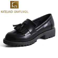 Women Shoes Slip On Black Matt PU Fringe Ladies Breathable Loafers Fashion Student Casual K-470