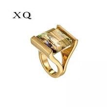 XQ joyería de color negro a la moda para mujer estilo europeo anillo cuadrado geométrico para mujer estilo rock exagerado