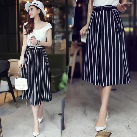 2015 New summer european style casual high waist chiffon striped cropped wide-leg pants office women Trousers belt freeshipping