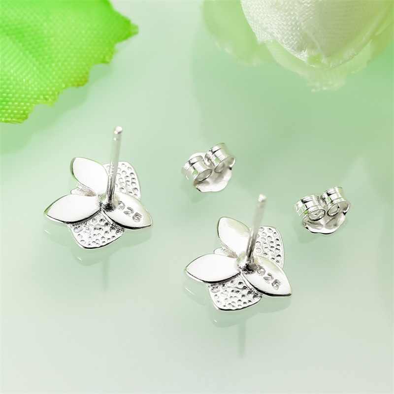 AZIZ BEKKAOUI Original 925 Sterling Silber Weiß Orchidee Weiß Emaille & Rosa CZ Blume Stud Ohrring Sterling Silber Schmuck