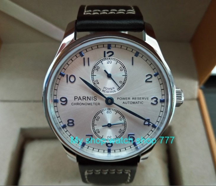 43MM PARNIS Automatic Self-Wind mechanical movement Silvery-white dial men's watch power reserve Mechanical watches DFGD169a 40mm parnis white dial vintage automatic movement mens watch p25