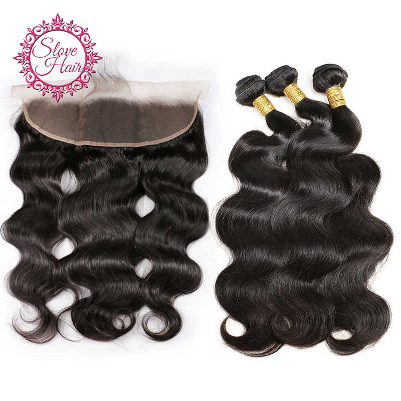 Human Hair Bundles With Frontal Buy 3 PCs Remy Body Wave Brazilian Weave Bundles Extension Get Free Middle Three Part Closure