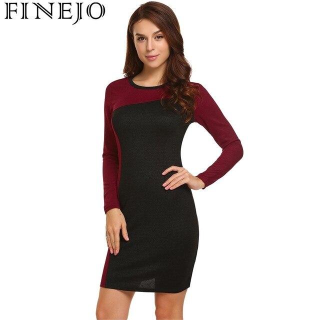 new style 4553b 6aa8b US $11.59 42% di SCONTO|FINEJO Matita Vestiti delle Donne Abbigliamento  Moda Elegante Manica Lunga Aderente OL Lavoro Vestito Da Partito Mini Abiti  Da ...