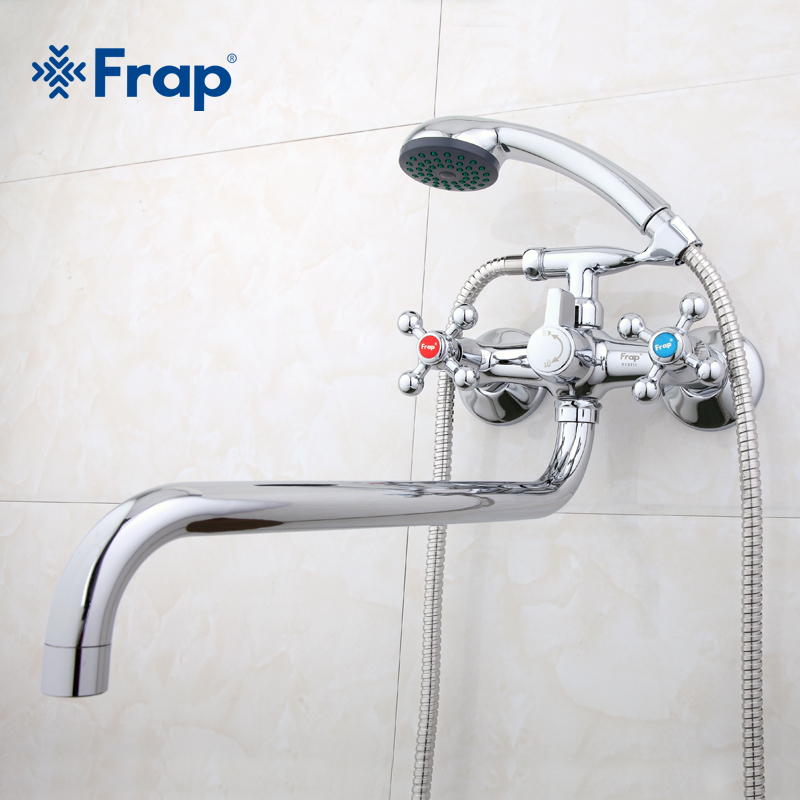Frap new Wall mounted Silver shower set hand shower bathroom double handle dual hole shower faucet system with 36cm nose F2619 2-in Shower Faucets from Home Improvement    3