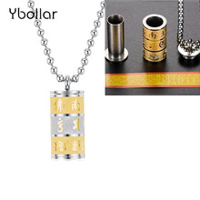 Stainless Steel Buddhism Religion Pendant Necklace Openable Ashes Bottle Prayer Wheel Necklace For Men Women Jewelry недорого