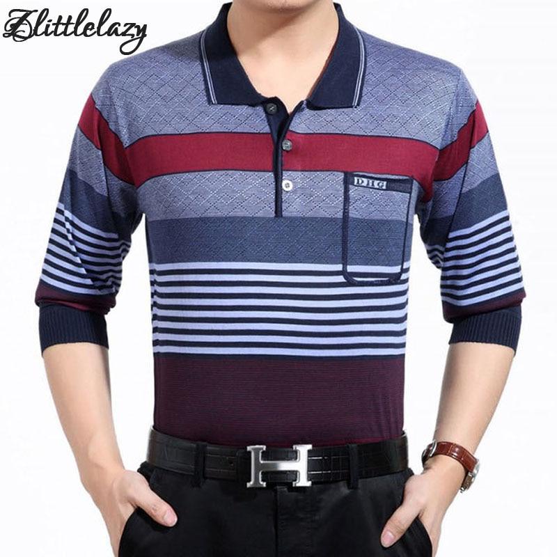 2018 marcas de moda listrado camisa pólo de manga longa homens camisa  masculina mens polos hombre blusa poloshirt roupas desgaste 8854 c3ce69f6f6cae