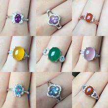 [MeiBaPJ 9 סגנונות טבעי טופז אדום אגת חן טרנדי טבעת עבור נשים אמיתי 925 כסף סטרלינג תכשיטים קסם
