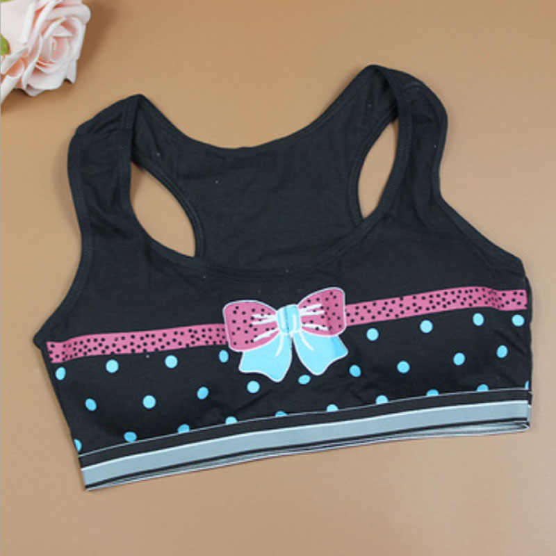 29e599893f2 Fashion Print Girls Kids Bra Thin Cotton Colorful Bowknot Breathable  Underwear for Teenage Student Young Girl