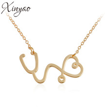 XINYAO 2017 Unique New Heart Stethoscope Pendants Necklaces For Girlfriend Gold Color Chain Choker Necklace Collier Femme F6563