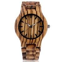 Men Casual Bamboo Analog Cool Simple Hot Handmade Nature Wood Stripe Fold Clasp Creative WoodenWrist Watch