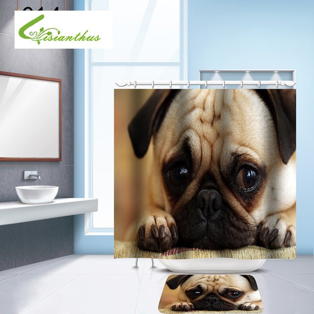 Europe Style Shower Curtains Eco Friendly Polyester Fabric 3D Cute Dogs Print Waterproof Bathroom Washable