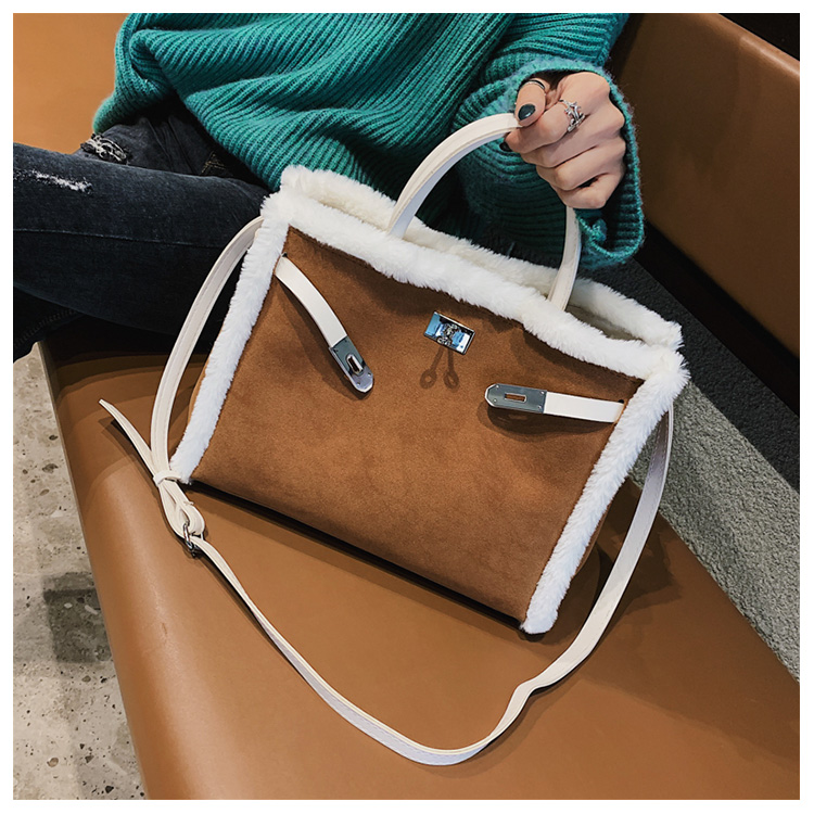 Korean handbag large capacity bucket hand bag designer big tote designer Fur women messengerc winter shopping wool no lock 96