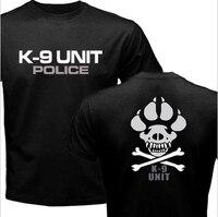 K-9 Specjalne Jednostki Policja Pies Stóp Graficzne Casual Canine męska Koszule Nowy Lato Górnym Krótkim Rękawem 100% Bawełna Druku Tee Koszula