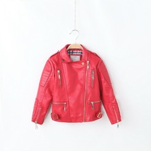New product Kids Leather Jacket Girls and Boys outerwear 2016 Fashion spring faux leather Red baby girl jackets infant girl coat