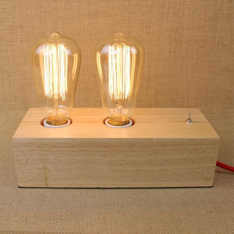 En bois Bois St64 Edison Américain Pays L'industrie Rh Lit Salle de Lecture Lampe Décorée Lampe de Bureau Lampes de Table Chambre