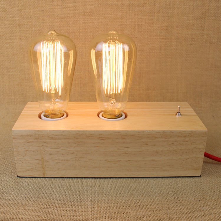 Wooden Wood St64 Edison  American Country Industry Rh Bed Room Reading Lamp Decorated Desk Lamp Table Lights Bedroom табличка для торговой марки innovation in wood industry