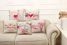 High Quality Pillow Covers Heart New Designs Wedding Gift Fashion Style45X45CM Linen Pillow CoverHome Decorative cushion case