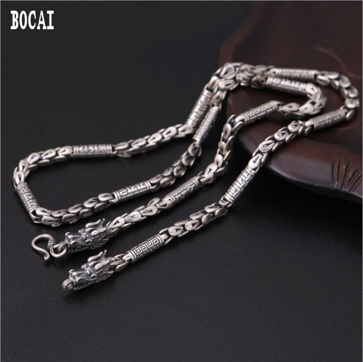 Real S925 sterling silver mens classic vintage Thai silver mighty personality faucet dragon scale mens necklaceReal S925 sterling silver mens classic vintage Thai silver mighty personality faucet dragon scale mens necklace
