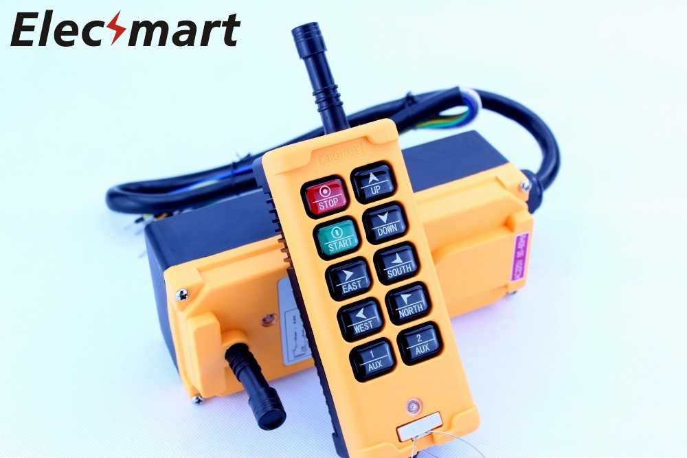 OBOHOS 12V 24V 110V 220V 380V HS-10 10 Channels 1 Speed Control Hoist industrial wireless Crane Radio Remote Control System